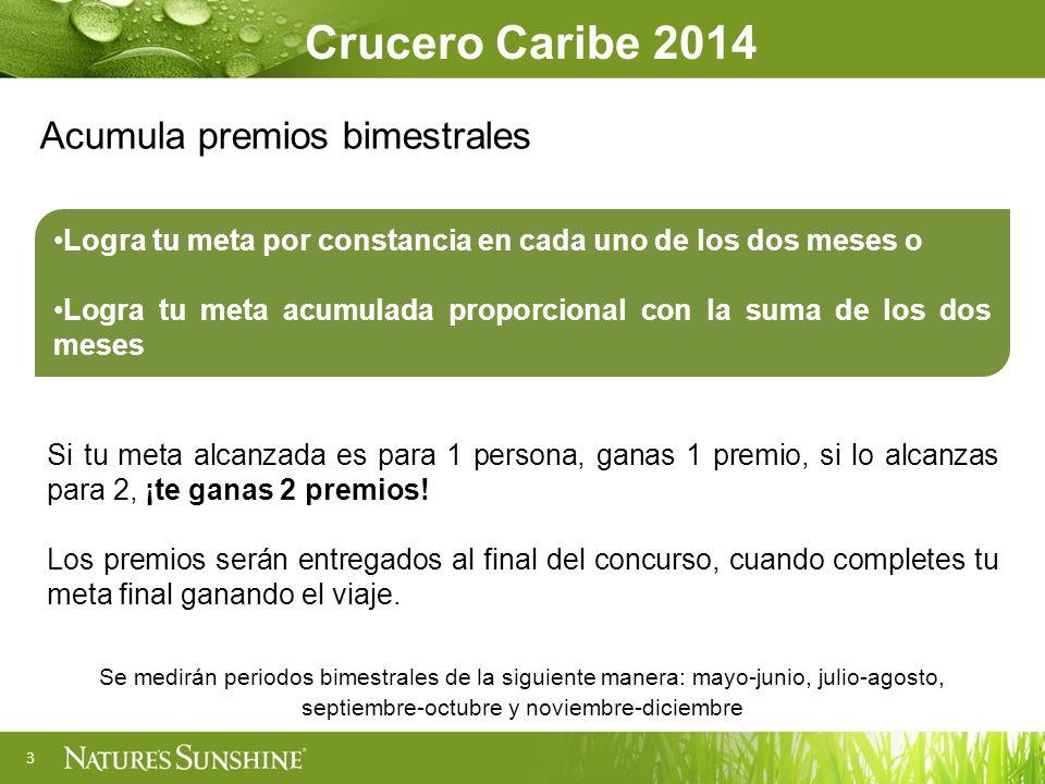 3 Crucero Caribe 2014 Acumula premios bimestrales Logra tu meta por constancia en cada uno de los dos meses o Logra tu meta acumulada proporcional con