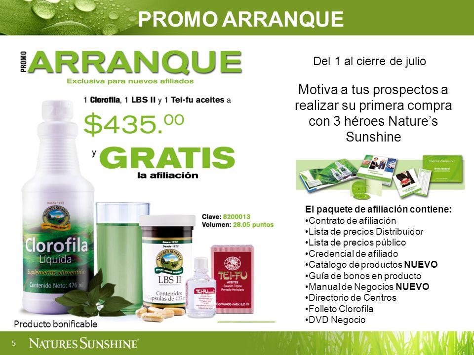 5 Motiva a tus prospectos a realizar su primera compra con 3 héroes Natures Sunshine Del 1 al cierre de julio PROMO ARRANQUE Producto bonificable El p