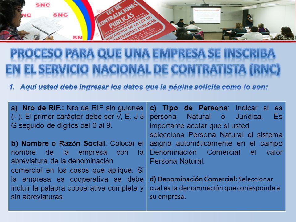 a)Nro de RIF.: Nro de RIF sin guiones (- ).