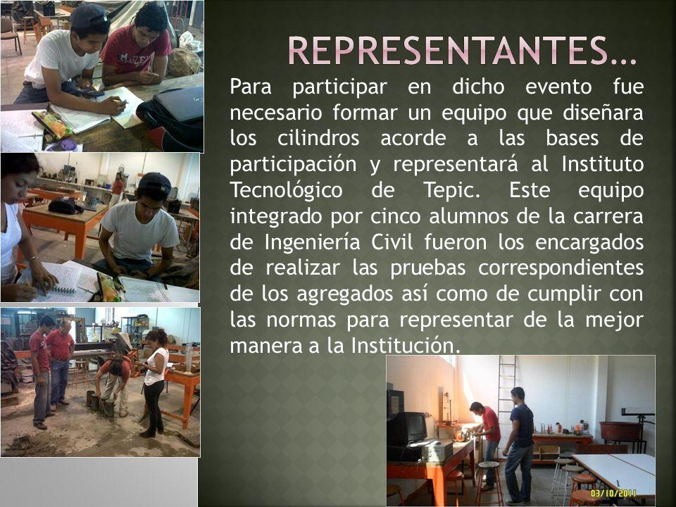 Para participar en dicho evento fue necesario formar un equipo que diseñara los cilindros acorde a las bases de participación y representará al Instit