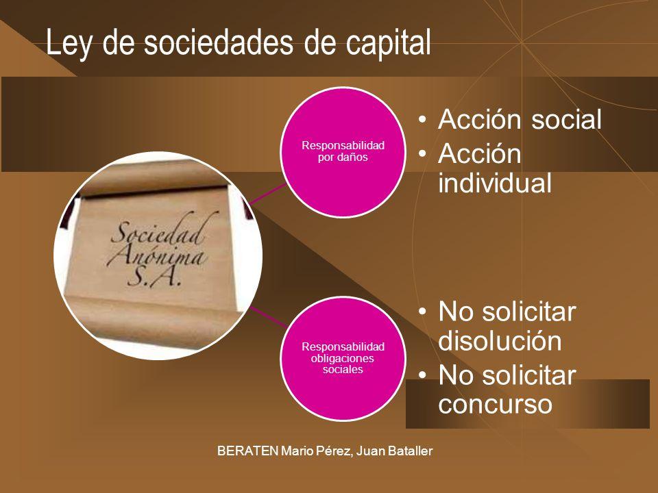 Ley de sociedades de capital BERATEN Mario Pérez, Juan Bataller Responsabilidad por daños Acción social Acción individual Responsabilidad obligaciones