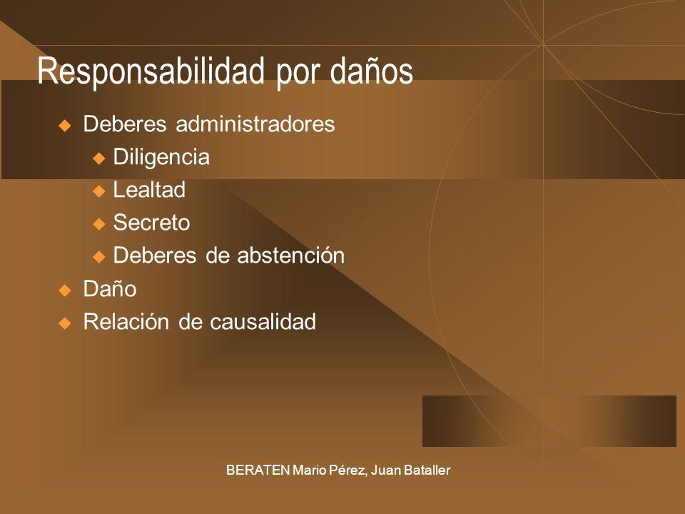 Responsabilidad por daños Deberes administradores u Diligencia u Lealtad u Secreto u Deberes de abstención Daño Relación de causalidad BERATEN Mario P