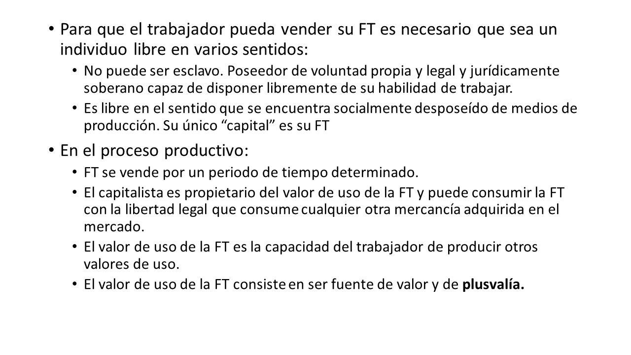 Para que el trabajador pueda vender su FT es necesario que sea un individuo libre en varios sentidos: No puede ser esclavo. Poseedor de voluntad propi