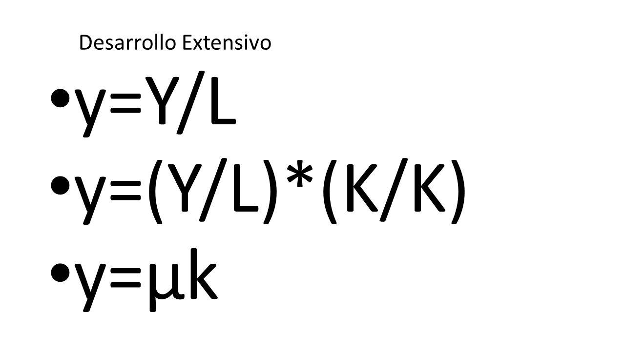 y=Y/L y=(Y/L)*(K/K) y=µk Desarrollo Extensivo