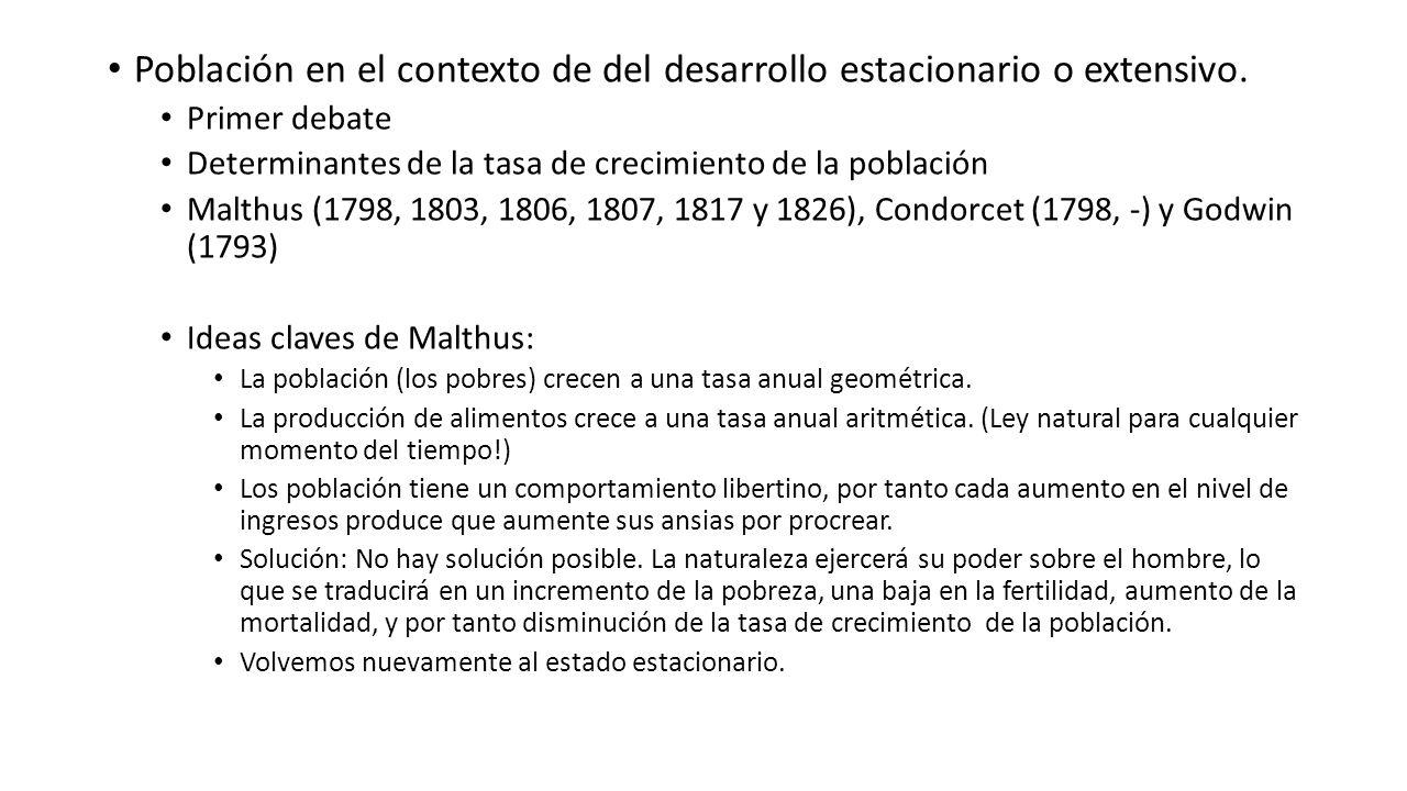 Población en el contexto de del desarrollo estacionario o extensivo. Primer debate Determinantes de la tasa de crecimiento de la población Malthus (17