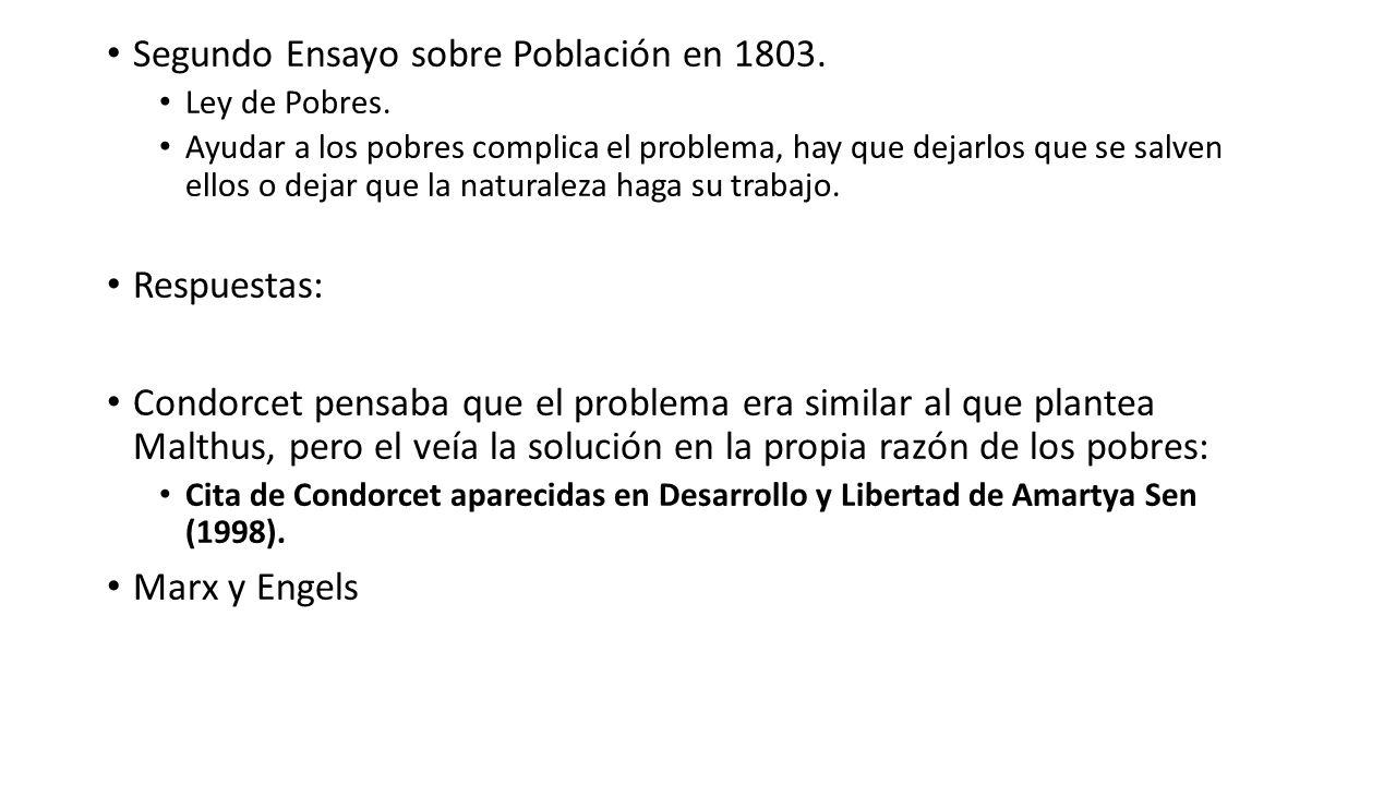 Segundo Ensayo sobre Población en 1803. Ley de Pobres. Ayudar a los pobres complica el problema, hay que dejarlos que se salven ellos o dejar que la n