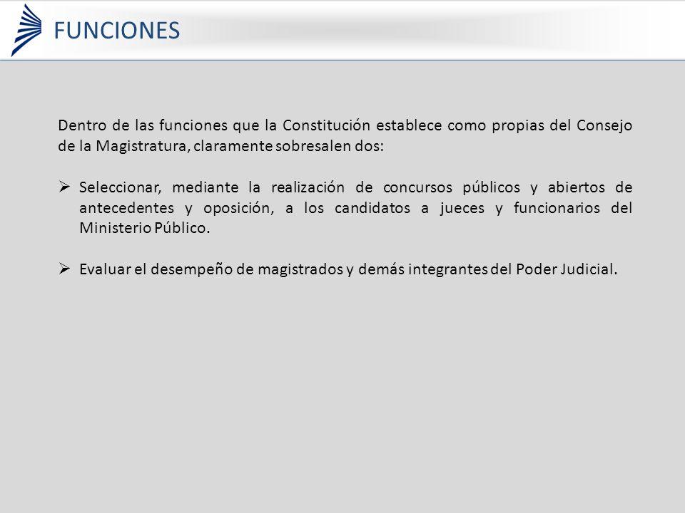 Dentro de las funciones que la Constitución establece como propias del Consejo de la Magistratura, claramente sobresalen dos: Seleccionar, mediante la realización de concursos públicos y abiertos de antecedentes y oposición, a los candidatos a jueces y funcionarios del Ministerio Público.