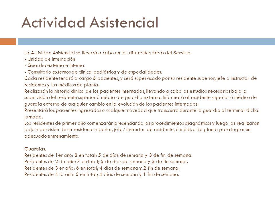 Actividad Asistencial La Actividad Asistencial se llevará a cabo en las diferentes áreas del Servicio: - Unidad de Internación - Guardia externa e int