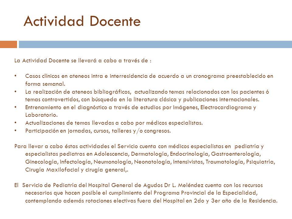 La Actividad Docente se llevará a cabo a través de : Casos clínicos en ateneos intra e interresidencia de acuerdo a un cronograma preestablecido en fo