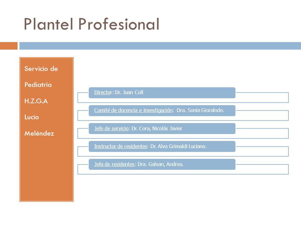 Plantel Profesional Servicio de Pediatría H.Z.G.A Lucio Meléndez Director: Dr. Juan CollComité de docencia e investigación: Dra. Sonia Gioralndo.Jefe