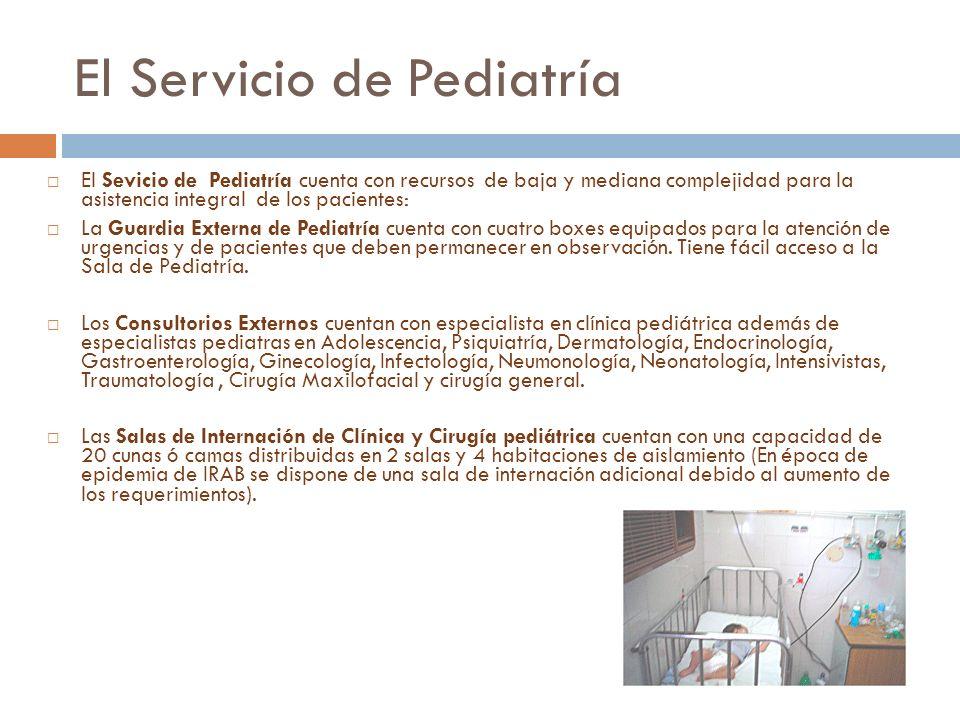 El Servicio de Pediatría Sevicio de Pediatría El Sevicio de Pediatría cuenta con recursos de baja y mediana complejidad para la asistencia integral de