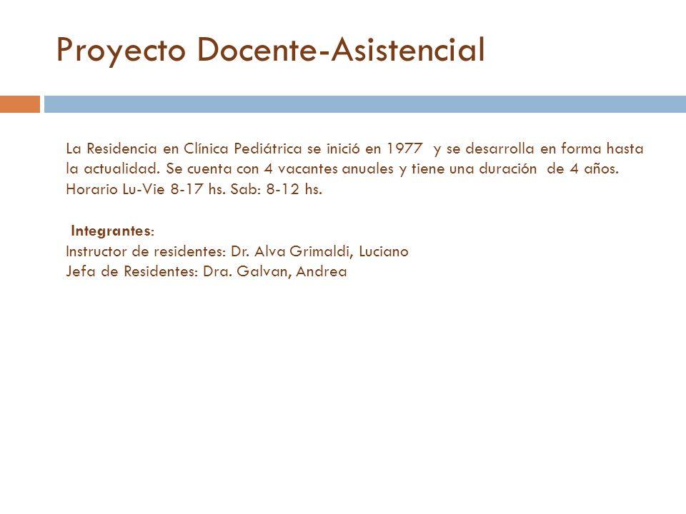 Proyecto Docente-Asistencial La Residencia en Clínica Pediátrica se inició en 1977 y se desarrolla en forma hasta la actualidad. Se cuenta con 4 vacan