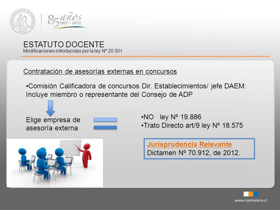 ESTATUTO DOCENTE Contratación de asesorías externas en concursos Jurisprudencia Relevante Dictamen Nº 70.912, de 2012. Modificaciones introducidas por