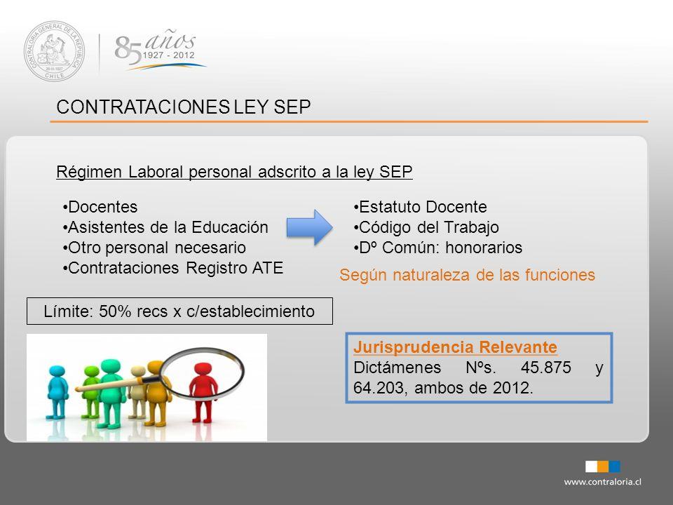 CONTRATACIONES LEY SEP Régimen Laboral personal adscrito a la ley SEP Jurisprudencia Relevante Dictámenes Nºs. 45.875 y 64.203, ambos de 2012. Docente