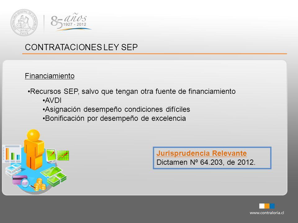 CONTRATACIONES LEY SEP Financiamiento Jurisprudencia Relevante Dictamen Nº 64.203, de 2012. Recursos SEP, salvo que tengan otra fuente de financiamien