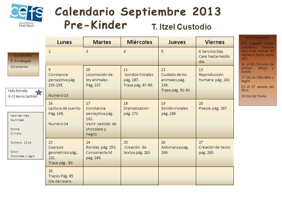 LunesMartesMiércolesJuevesViernes 23.4.5.6.Servicio Guardería hasta medio día 9.