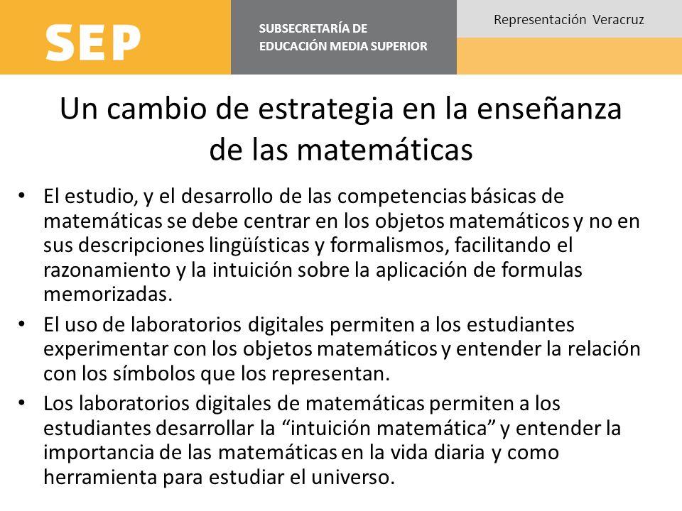 SUBSECRETARÍA DE EDUCACIÓN MEDIA SUPERIOR Representación Veracruz Un cambio de estrategia en la enseñanza de las matemáticas El estudio, y el desarrol