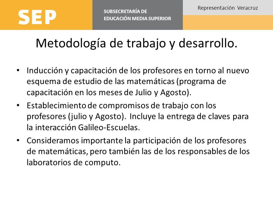 SUBSECRETARÍA DE EDUCACIÓN MEDIA SUPERIOR Representación Veracruz Metodología de trabajo y desarrollo. Inducción y capacitación de los profesores en t