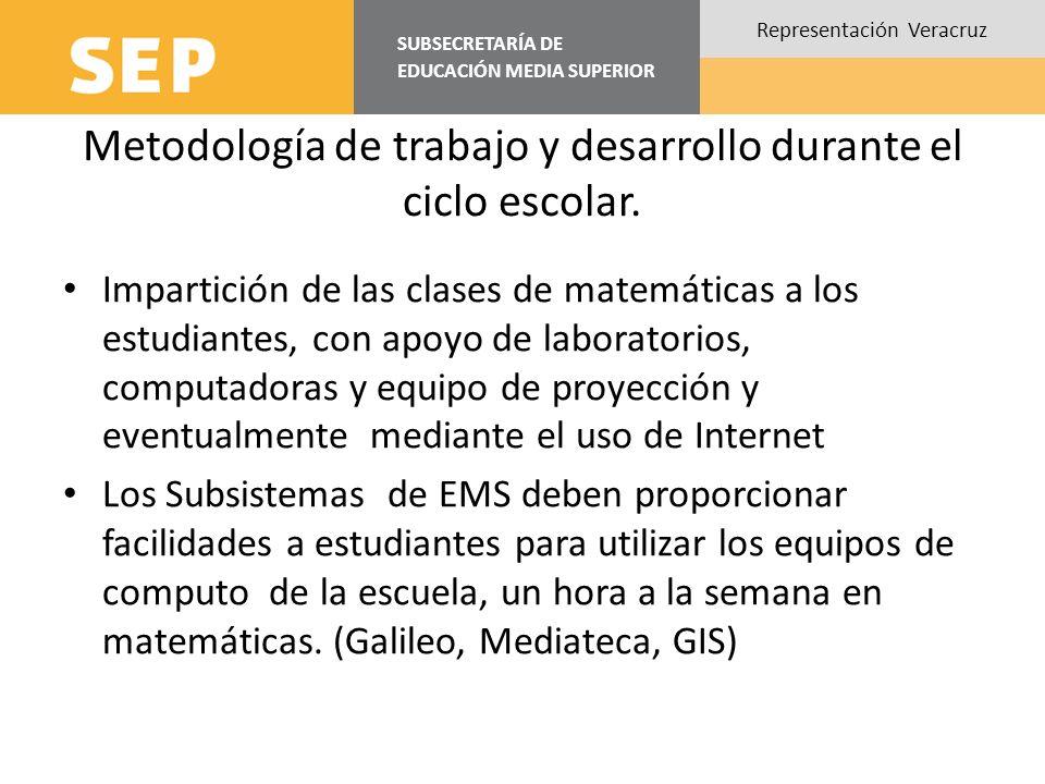 SUBSECRETARÍA DE EDUCACIÓN MEDIA SUPERIOR Representación Veracruz Metodología de trabajo y desarrollo durante el ciclo escolar. Impartición de las cla