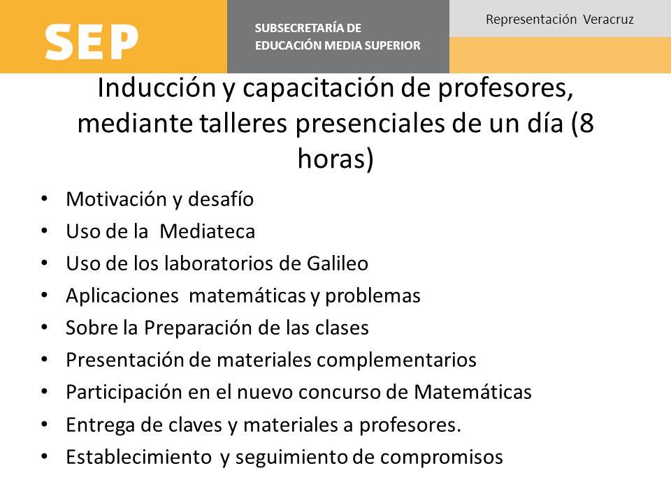SUBSECRETARÍA DE EDUCACIÓN MEDIA SUPERIOR Representación Veracruz Inducción y capacitación de profesores, mediante talleres presenciales de un día (8
