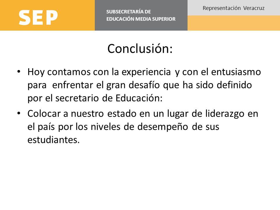 SUBSECRETARÍA DE EDUCACIÓN MEDIA SUPERIOR Representación Veracruz Conclusión: Hoy contamos con la experiencia y con el entusiasmo para enfrentar el gran desafío que ha sido definido por el secretario de Educación: Colocar a nuestro estado en un lugar de liderazgo en el país por los niveles de desempeño de sus estudiantes.