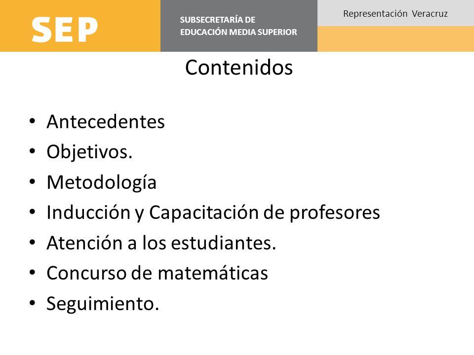 SUBSECRETARÍA DE EDUCACIÓN MEDIA SUPERIOR Representación Veracruz Contenidos Antecedentes Objetivos. Metodología Inducción y Capacitación de profesore