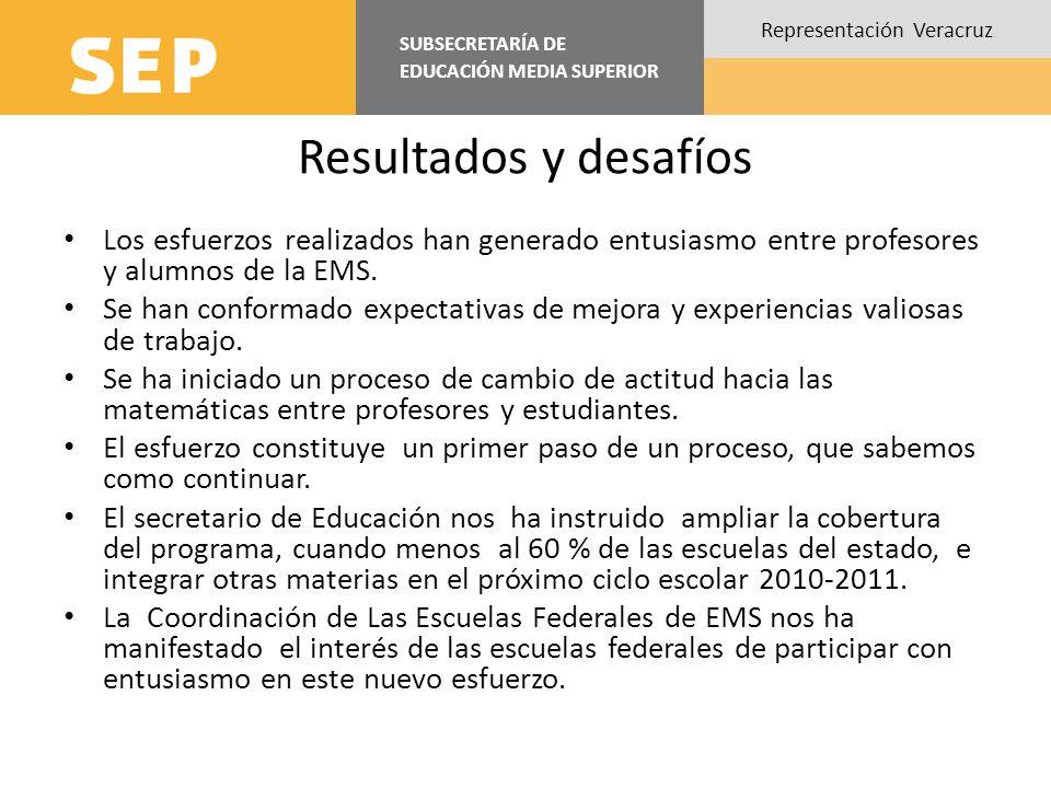SUBSECRETARÍA DE EDUCACIÓN MEDIA SUPERIOR Representación Veracruz Resultados y desafíos Los esfuerzos realizados han generado entusiasmo entre profeso
