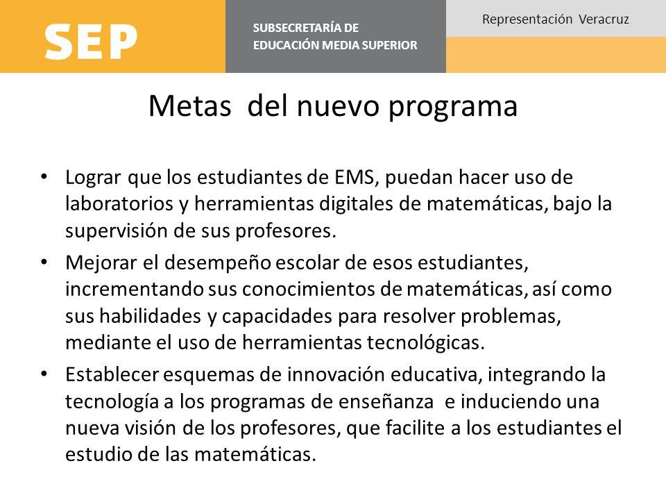 SUBSECRETARÍA DE EDUCACIÓN MEDIA SUPERIOR Representación Veracruz Metas del nuevo programa Lograr que los estudiantes de EMS, puedan hacer uso de laboratorios y herramientas digitales de matemáticas, bajo la supervisión de sus profesores.