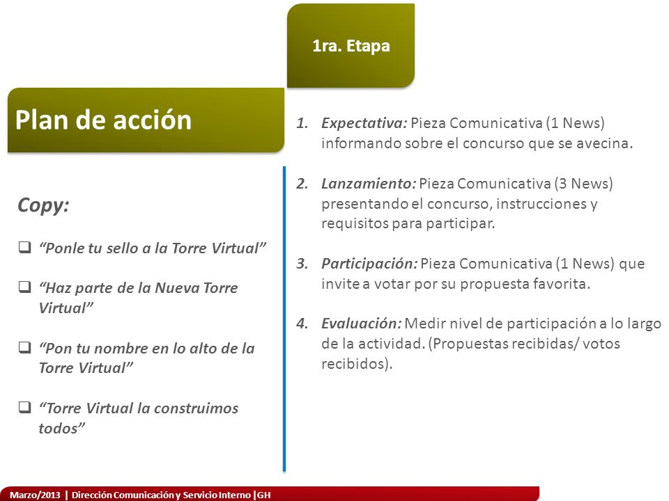 Marzo/2013 | Dirección Comunicación y Servicio Interno |GH Concurso Metodología 1.El colaborador tendrá dos opciones para poder realizar el diseño de su cabezote: Opción 1.