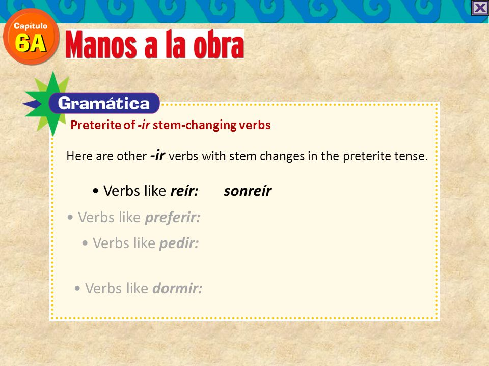 Here are other -ir verbs with stem changes in the preterite tense. Verbs like reír: sonreír Verbs like preferir: Verbs like pedir: Verbs like dormir: