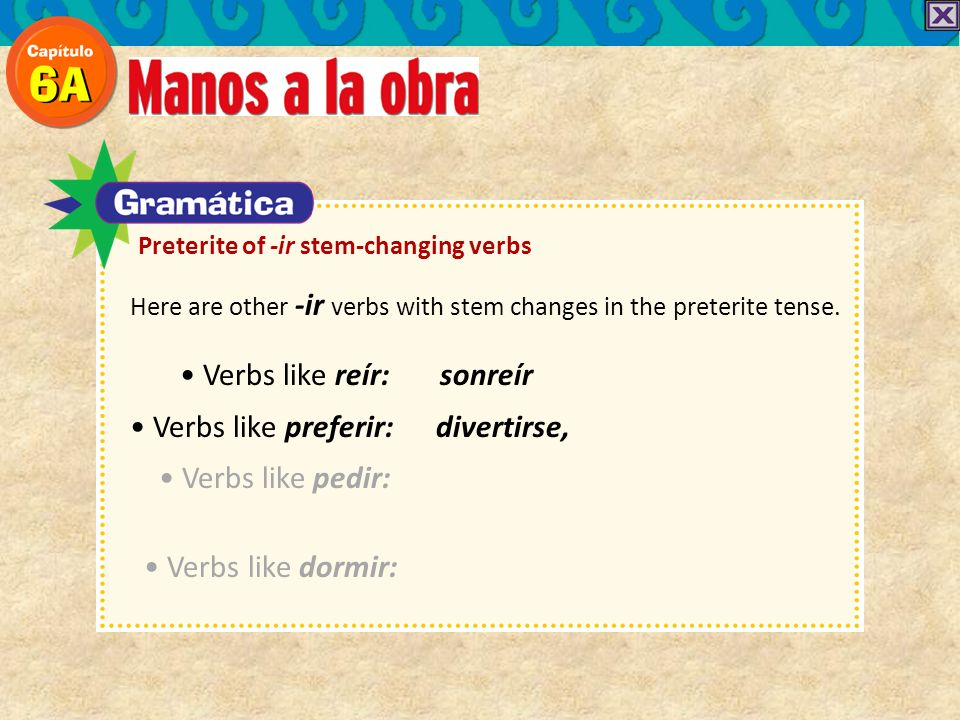 Here are other -ir verbs with stem changes in the preterite tense. Verbs like reír: sonreír Verbs like preferir: divertirse, Verbs like pedir: Verbs l
