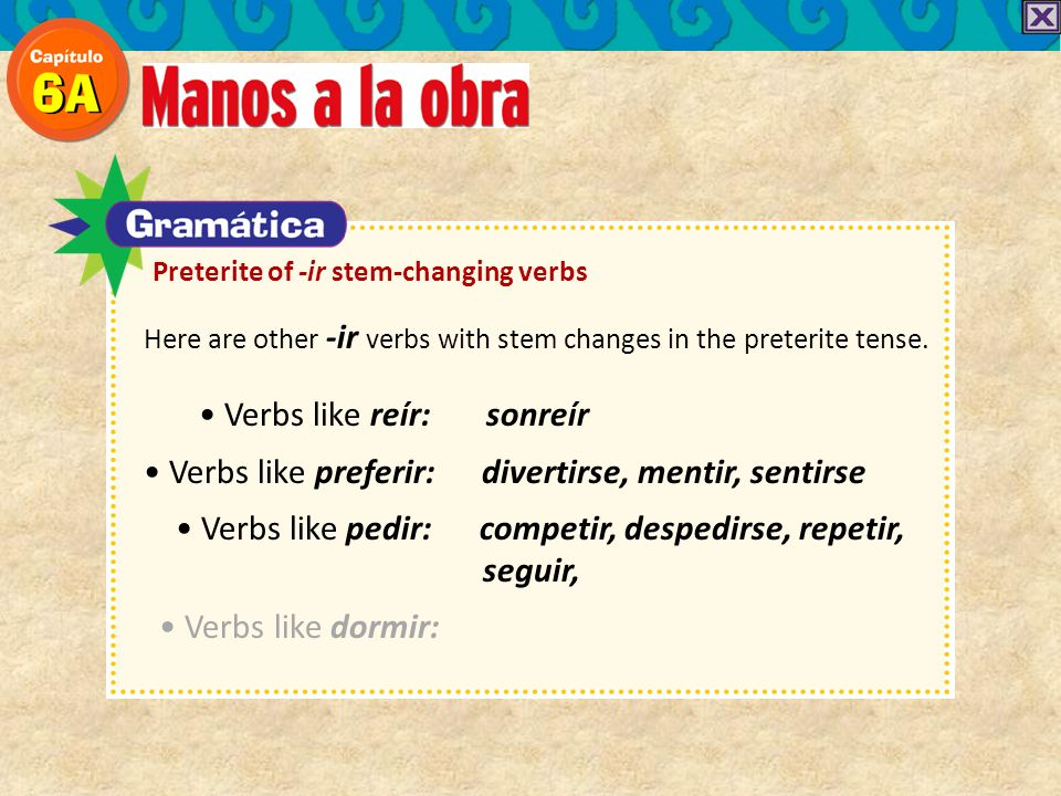 Here are other -ir verbs with stem changes in the preterite tense. Verbs like reír: sonreír Verbs like preferir: divertirse, mentir, sentirse Verbs li