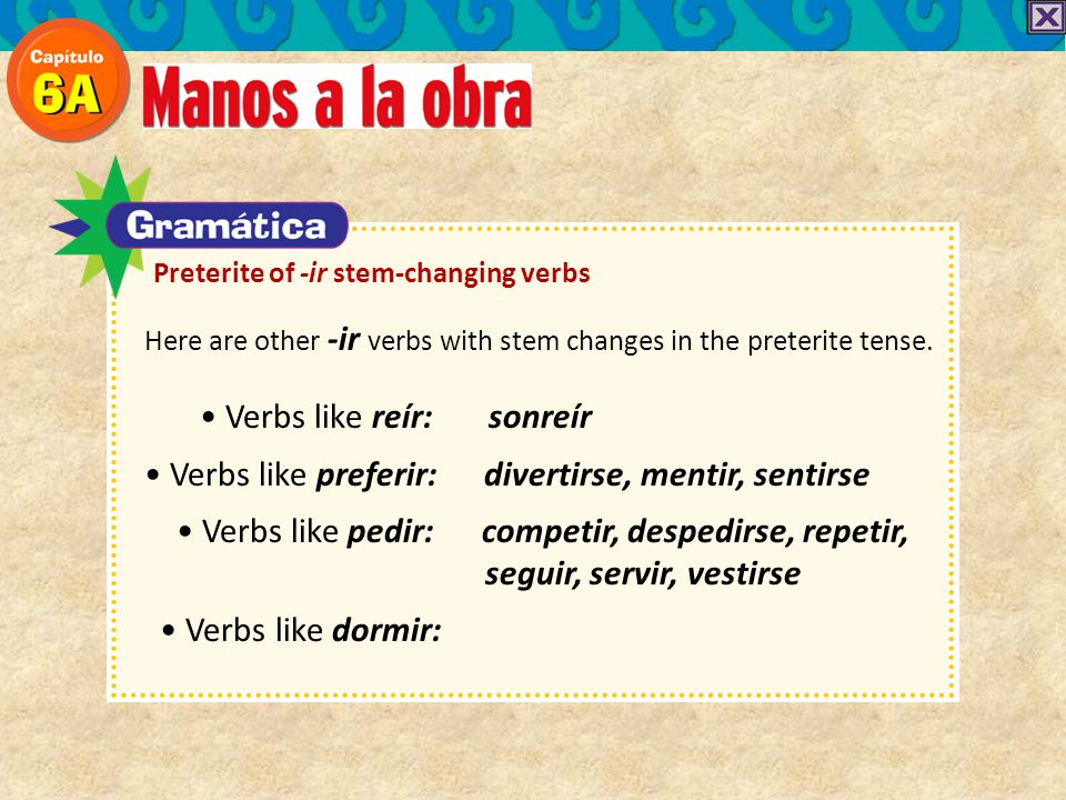 Here are other -ir verbs with stem changes in the preterite tense.