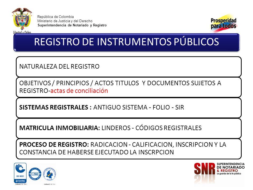 República de Colombia Ministerio de Justicia y del Derecho Superintendencia de Notariado y Registro NATURALEZA DEL REGISTRO OBJETIVOS / PRINCIPIOS / ACTOS TITULOS Y DOCUMENTOS SUJETOS A REGISTRO-actas de conciliación SISTEMAS REGISTRALES : ANTIGUO SISTEMA - FOLIO - SIRMATRICULA INMOBILIARIA: LINDEROS - CÓDIGOS REGISTRALES PROCESO DE REGISTRO: RADICACION - CALIFICACION, INSCRIPCION Y LA CONSTANCIA DE HABERSE EJECUTADO LA INSCRPCION REGISTRO DE INSTRUMENTOS PÚBLICOS