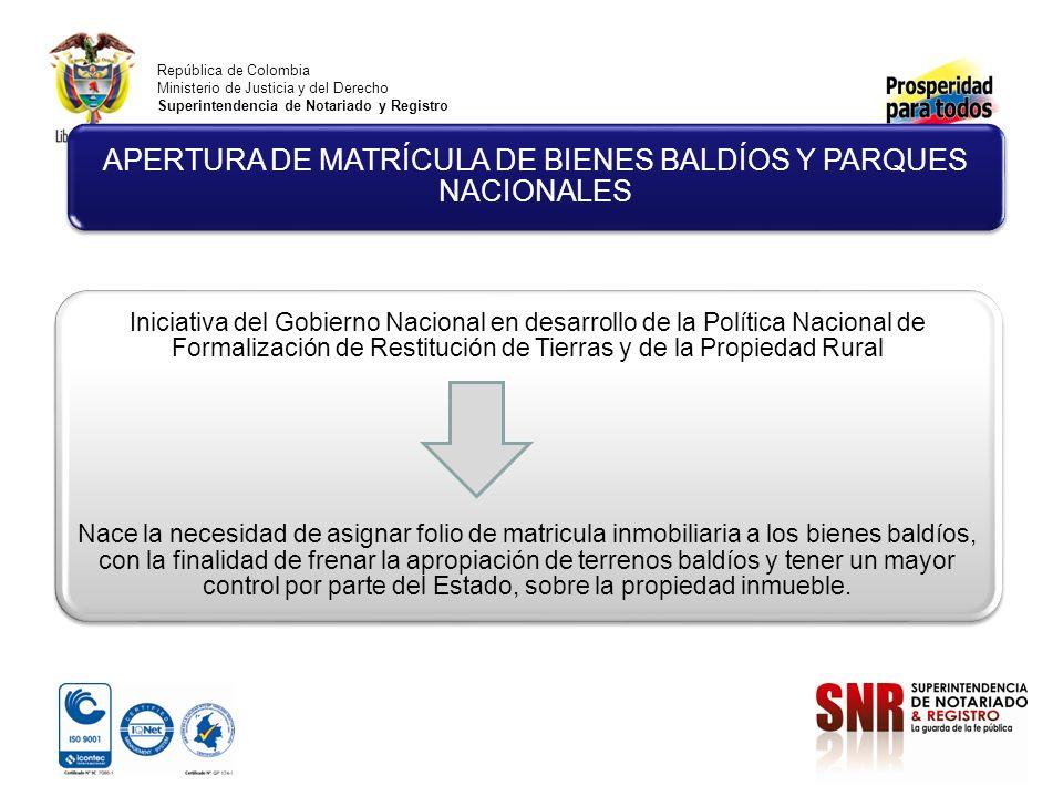 República de Colombia Ministerio de Justicia y del Derecho Superintendencia de Notariado y Registro Iniciativa del Gobierno Nacional en desarrollo de