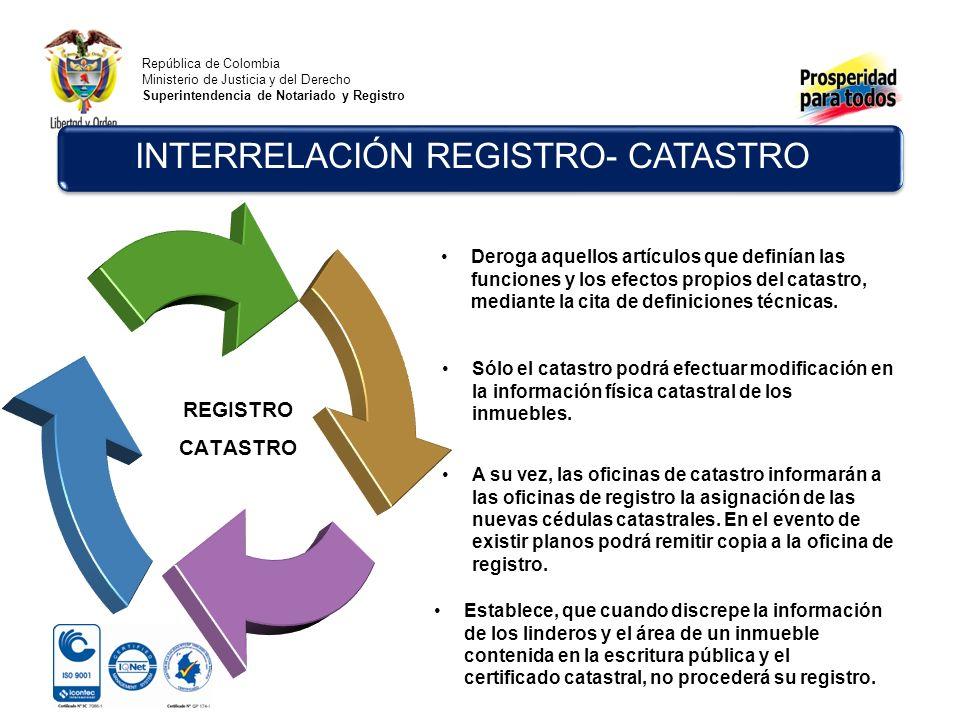 República de Colombia Ministerio de Justicia y del Derecho Superintendencia de Notariado y Registro INTERRELACIÓN REGISTRO- CATASTRO REGISTRO CATASTRO