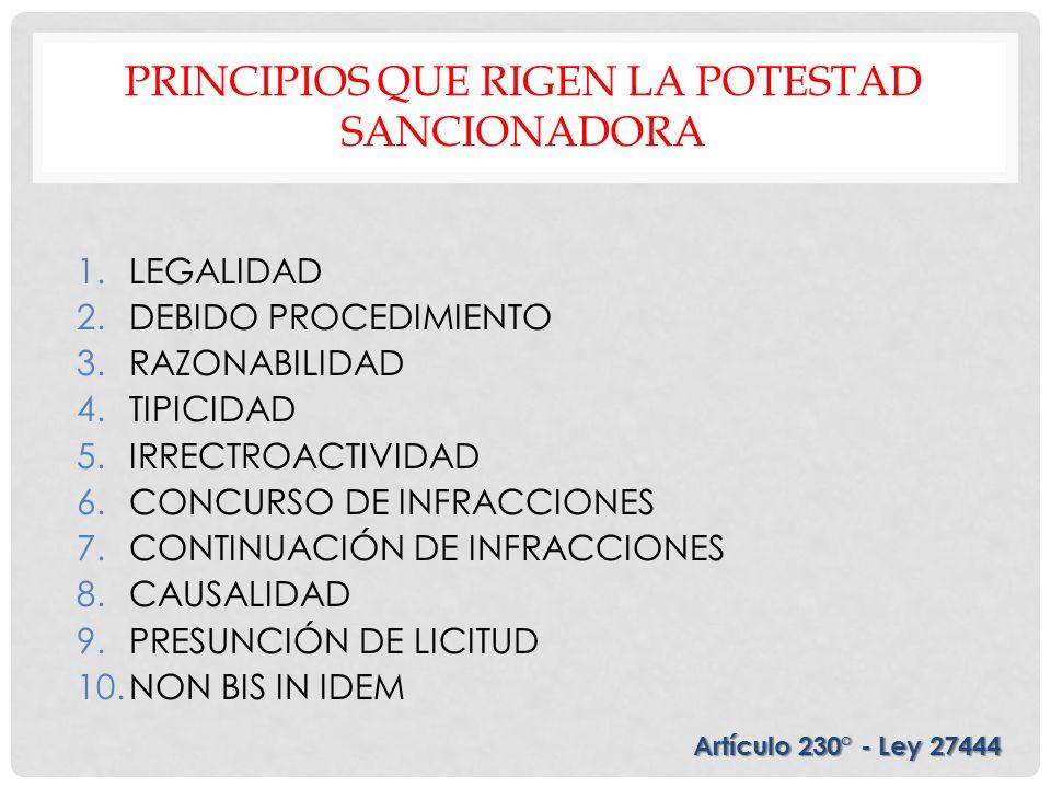 PRINCIPIOS QUE RIGEN LA POTESTAD SANCIONADORA 1.LEGALIDAD 2.DEBIDO PROCEDIMIENTO 3.RAZONABILIDAD 4.TIPICIDAD 5.IRRECTROACTIVIDAD 6.CONCURSO DE INFRACC