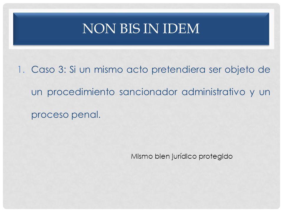 NON BIS IN IDEM 1.Caso 3: Si un mismo acto pretendiera ser objeto de un procedimiento sancionador administrativo y un proceso penal. Mismo bien jurídi