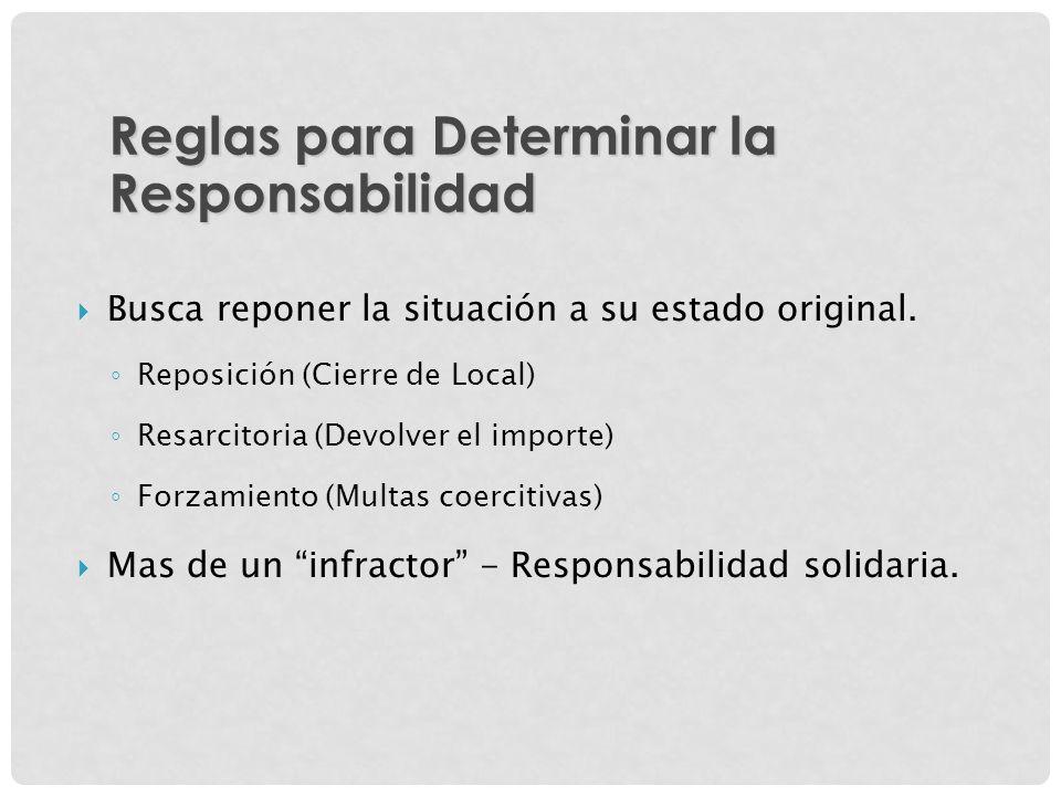 Busca reponer la situación a su estado original. Reposición (Cierre de Local) Resarcitoria (Devolver el importe) Forzamiento (Multas coercitivas) Mas