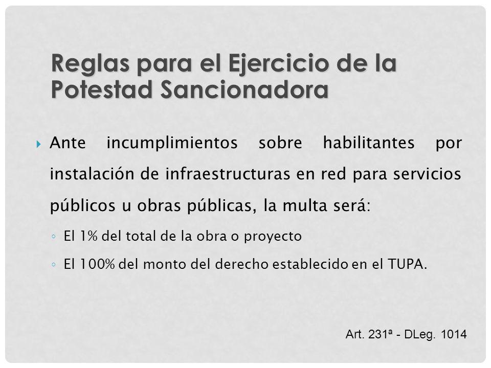 Ante incumplimientos sobre habilitantes por instalación de infraestructuras en red para servicios públicos u obras públicas, la multa será: El 1% del