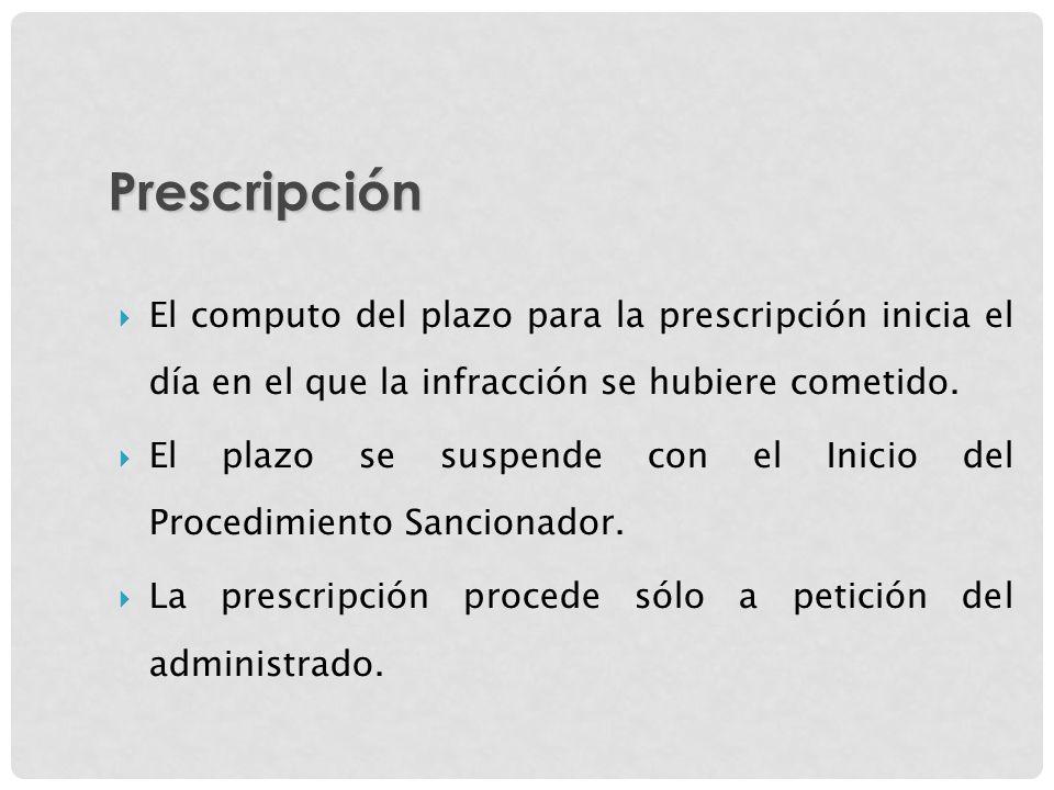 El computo del plazo para la prescripción inicia el día en el que la infracción se hubiere cometido. El plazo se suspende con el Inicio del Procedimie