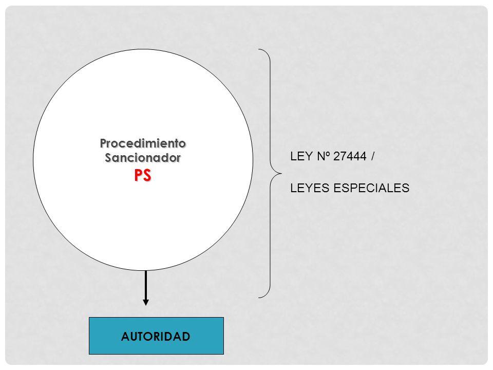 AUTORIDAD ProcedimientoSancionadorPS LEY Nº 27444 / LEYES ESPECIALES