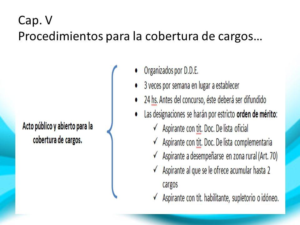 Cap. V Procedimientos para la cobertura de cargos…