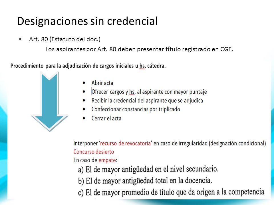 Designaciones sin credencial Art. 80 (Estatuto del doc.) Los aspirantes por Art. 80 deben presentar título registrado en CGE.