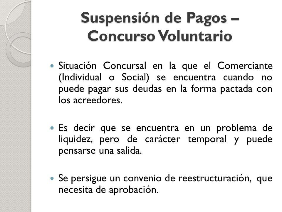 Suspensión de Pagos – Concurso Voluntario Situación Concursal en la que el Comerciante (Individual o Social) se encuentra cuando no puede pagar sus de
