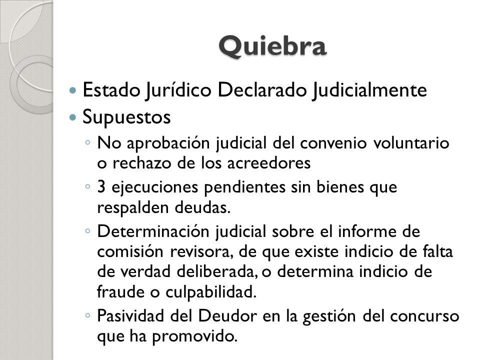 Quiebra Estado Jurídico Declarado Judicialmente Supuestos No aprobación judicial del convenio voluntario o rechazo de los acreedores 3 ejecuciones pen