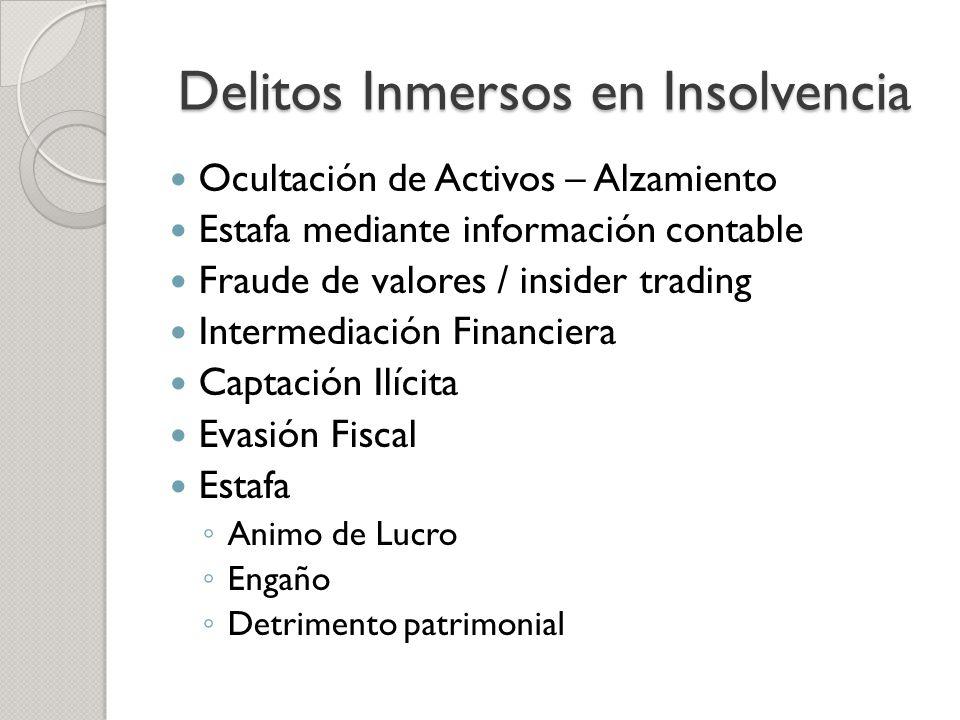 Delitos Inmersos en Insolvencia Ocultación de Activos – Alzamiento Estafa mediante información contable Fraude de valores / insider trading Intermedia