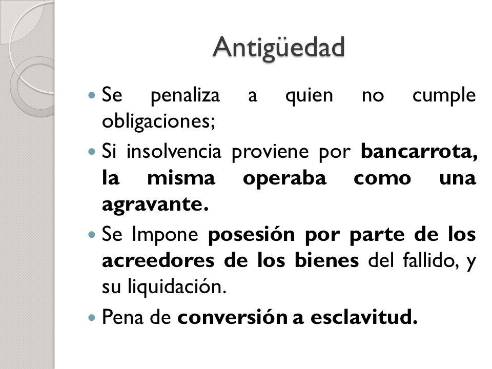 Antigüedad Se penaliza a quien no cumple obligaciones; Si insolvencia proviene por bancarrota, la misma operaba como una agravante. Se Impone posesión