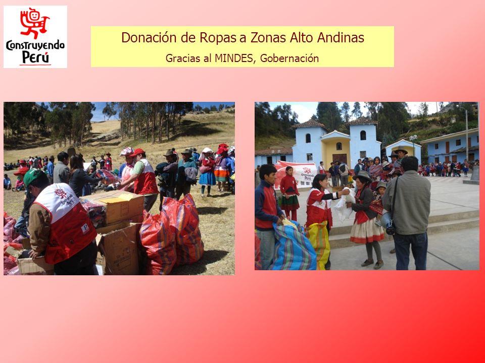Donación de Ropas a Zonas Alto Andinas Gracias al MINDES, Gobernación