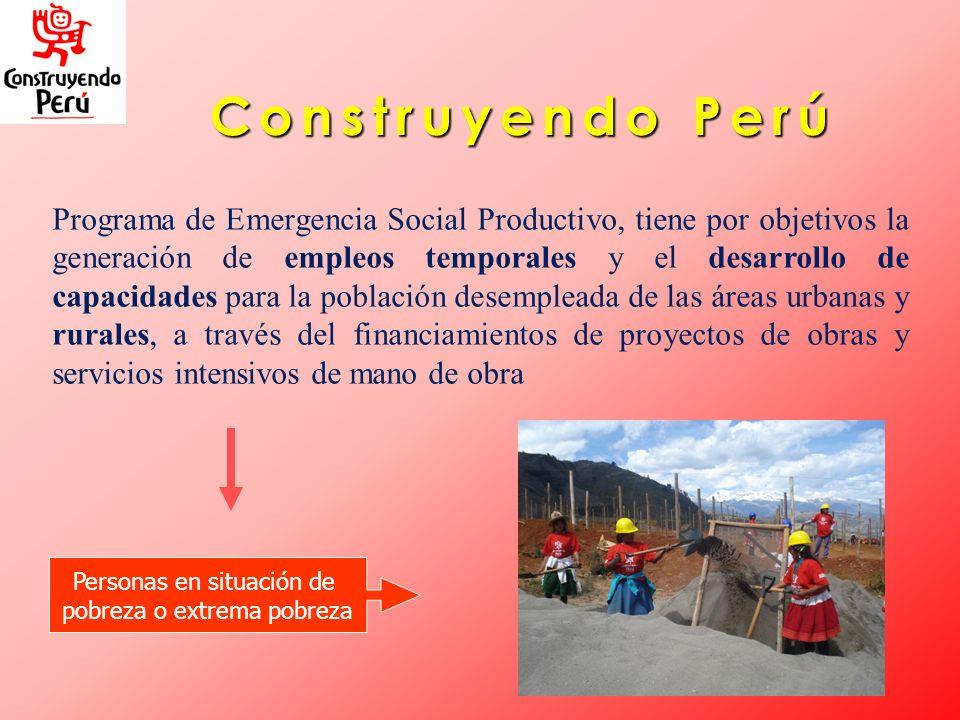 Construyendo Perú Programa de Emergencia Social Productivo, tiene por objetivos la generación de empleos temporales y el desarrollo de capacidades par